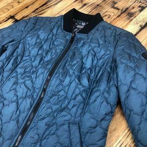 Bernardo Blue Metal Bomber Jacket